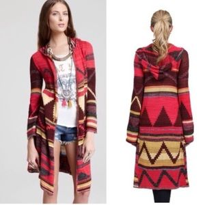 FREE PEOPLE LIMA AZTEC HOODED CARDIGAN DUSTER XS
